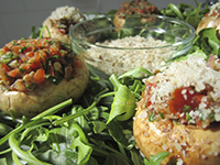 Raw food-Stuffed Mushrooms
