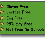 Gluten, Lactose, Egg Free, 95% Soy Free, Nut Free in Schools