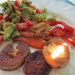 raw avocado salad with roast potatoes