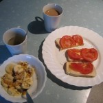 raw breakfast and cooked toast