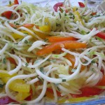 Spiralised zucchini with rainbow capsicums
